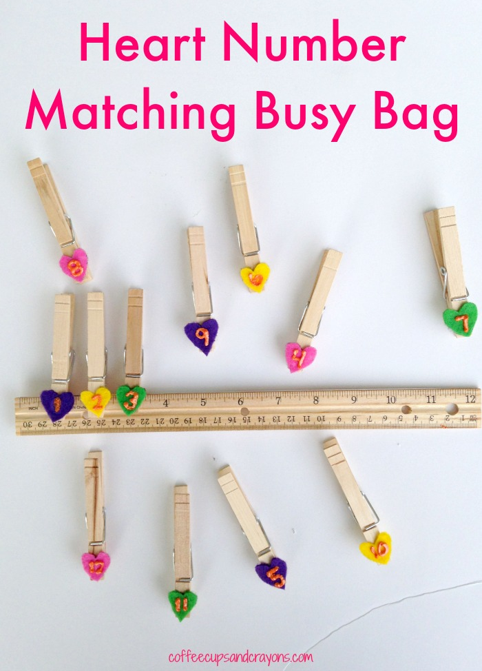 Heart Number Matching Busy Bag for Preschoolers!