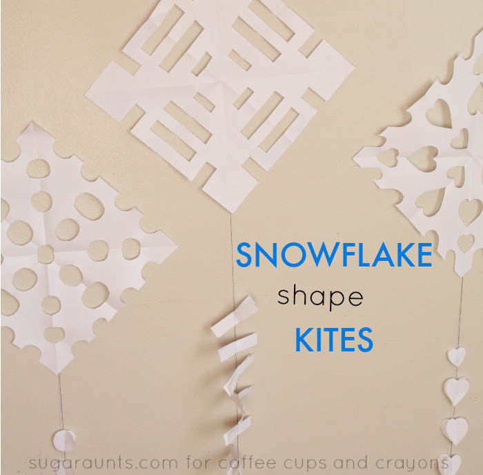 Snowflake Shape Kites! A fun preschool shape activity and craft for winter!