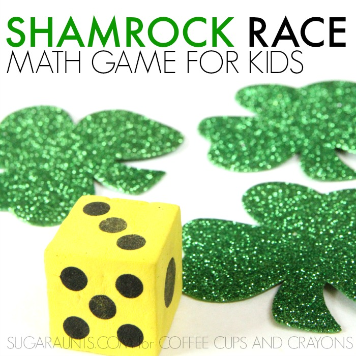 Shamrock Math Race game for indoor play and St. Patrick's Day fun