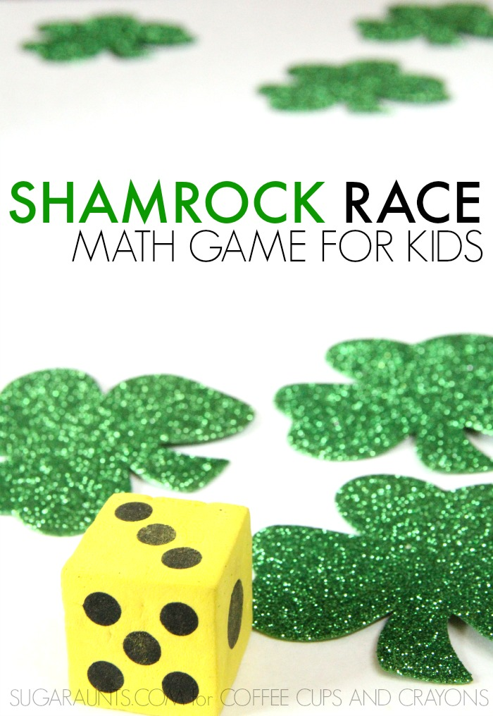 Shamrock math race for kids. This is fun for St. Patrick's Day!