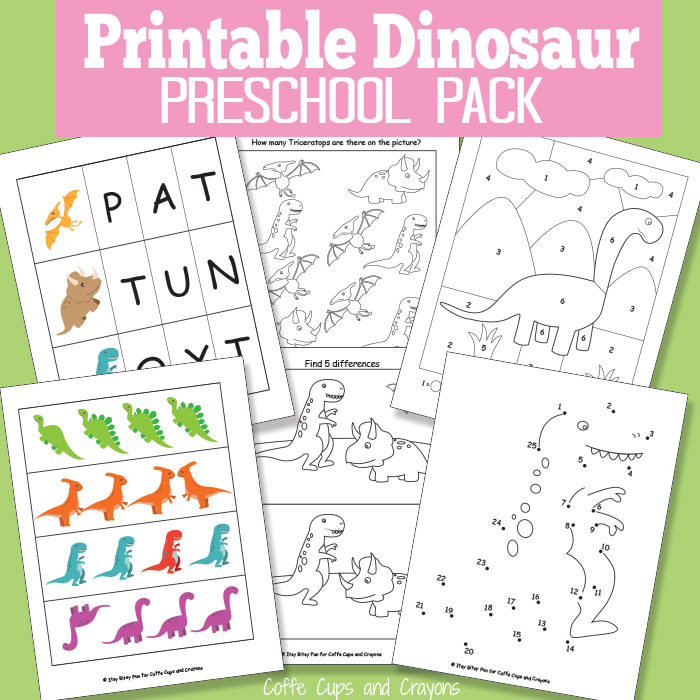 Printable Dinosaur Pack For Preschool Coffee Cups And Crayons