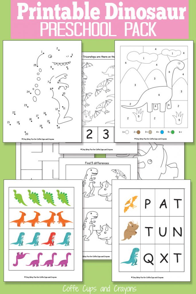 Printable Dinosaur Pack for Preschool | Coffee Cups and ...
