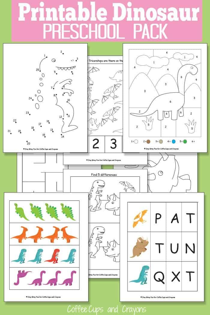 Printable Dinosaur Pack For Preschool Coffee Cups And Crayons. Printable Dinosaur Pack For Preschool. Worksheet. Dinosaur Worksheets For Pre K At Clickcart.co