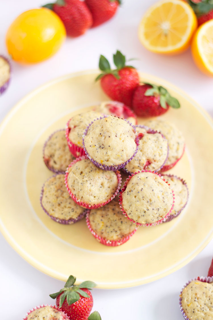 Strawberry Meyer Lemon Poppy Seed Muffins | @reciperunner