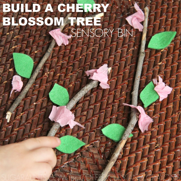 Build a cherry blossom tree for sensory play with kids
