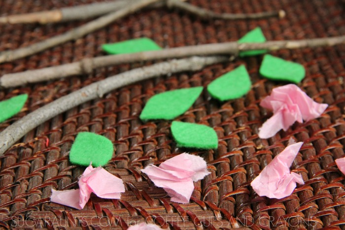 Cherry blossom sensory bin for kids