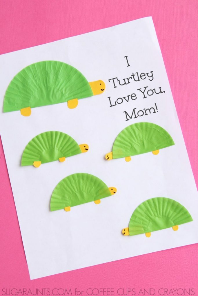 Turtle theme Mother's Day card kids can make: I Turtley love you, mom!