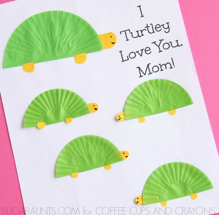 Turtle Themed Mother S Day Card Coffee Cups And Crayons