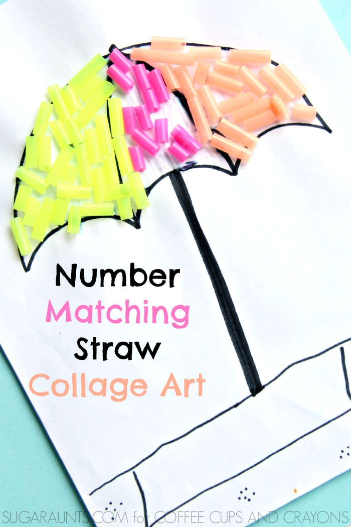 Preschool Number Matching Collage Art Coffee Cups And Crayons