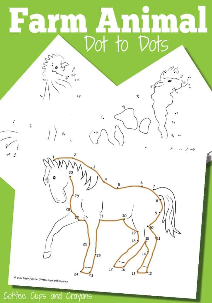 Farm Animal Dot to Dots - Free Printable