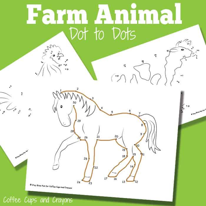 Free Farm Animal Dot to Dots