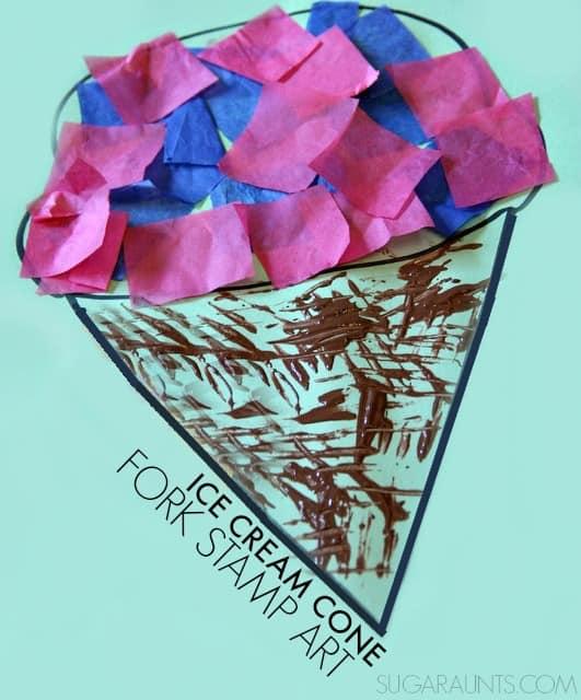 fork-stamp-art-ice-cream-cone-craft-kids