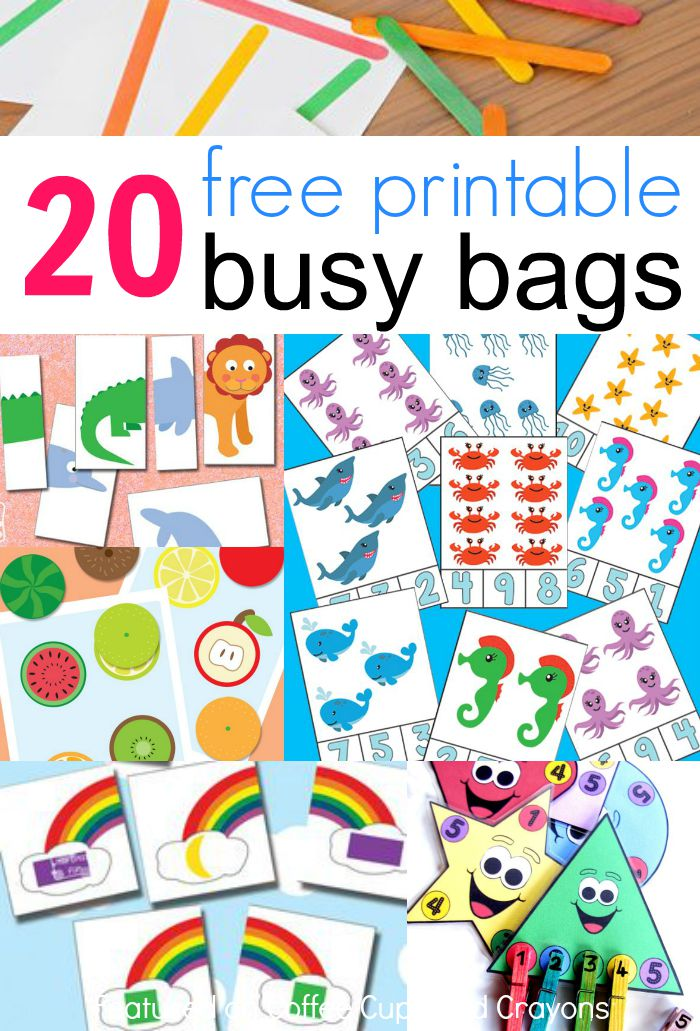 20 free printable busy bags for kids that you can put together in less than 10 - Free Kids Printable Activities