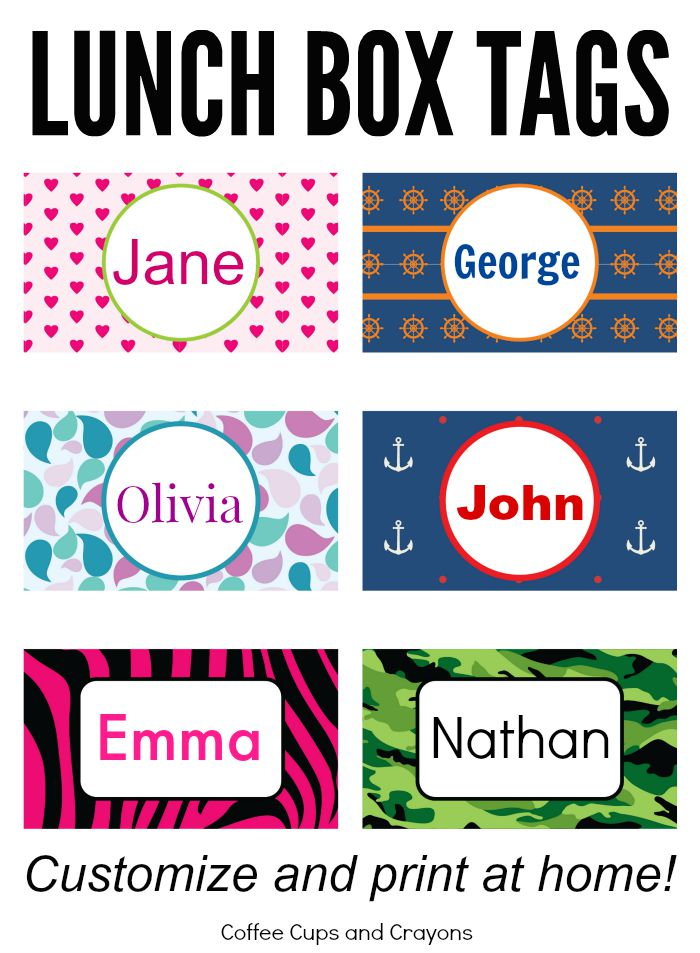 Printable Lunchbox Tags! Customize with your child's name and print at home!