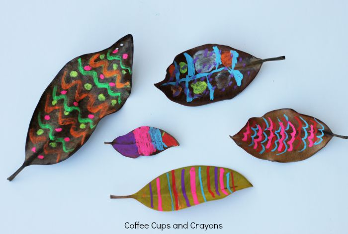 Chalk Art on Leaves! Simple art activity for kids!