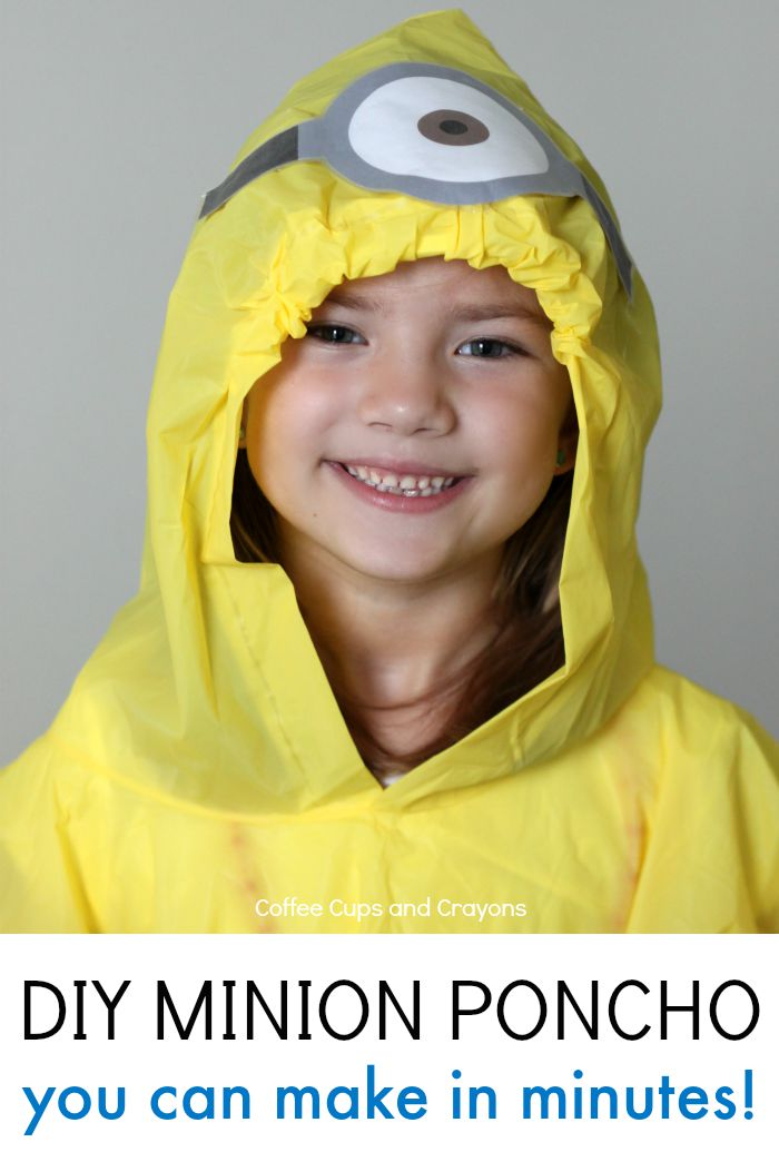 DIY Minion Poncho! So cute and easy to make. There are free printable minion goggles you can download to use in the post.