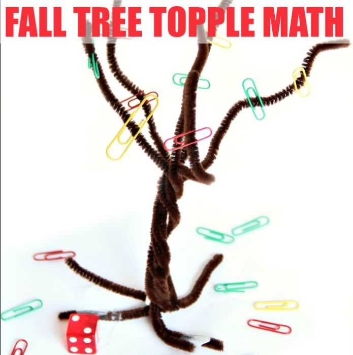 Fall Math Topple Game that kids will love for addition and other math skills