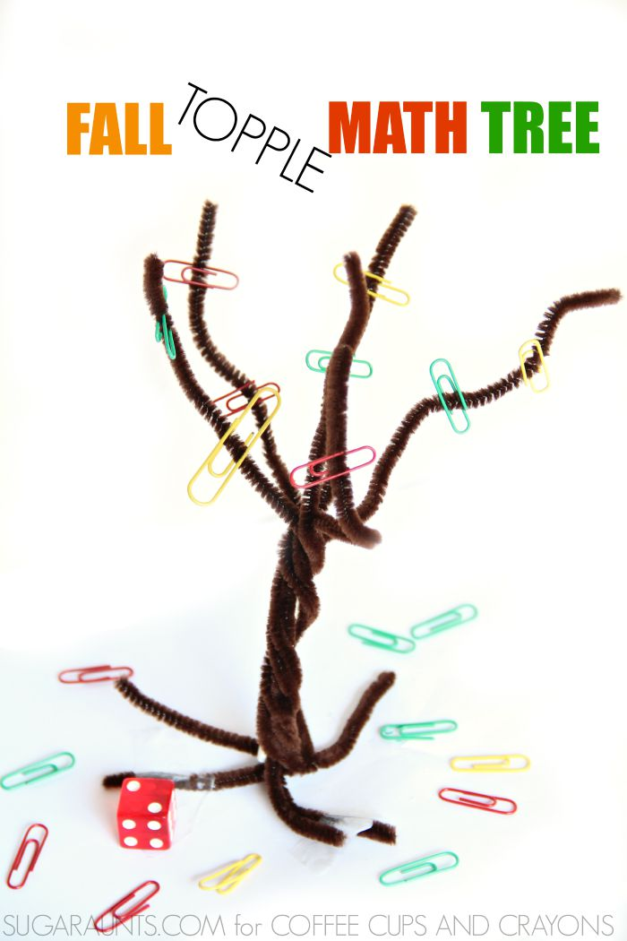 Practice counting and adding with this Fall Topple Game using a pipe cleaner tree. Kids love this math activity!