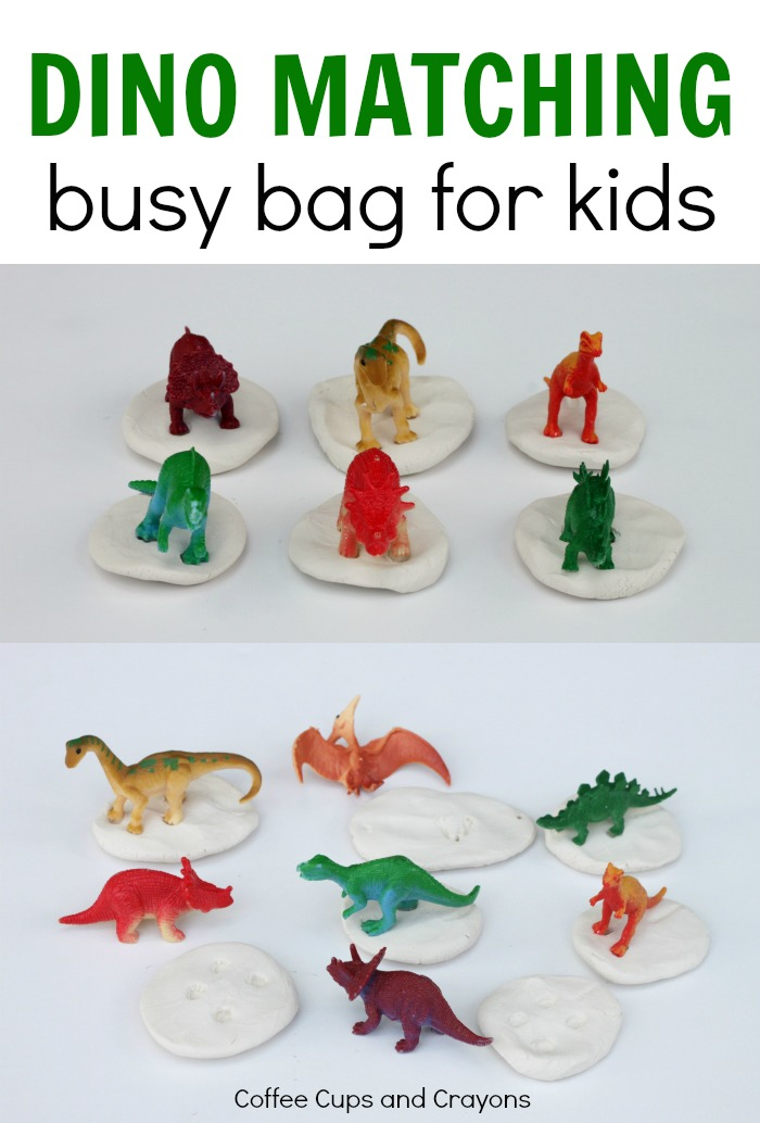 Fun dinosaur fossil matching busy bag for kids!