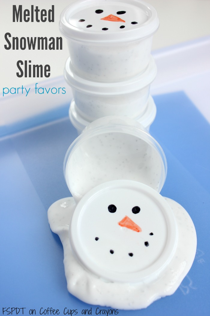 Make melted snowman slime with your kids! Makes perfect snowman party favors or class gifts too!