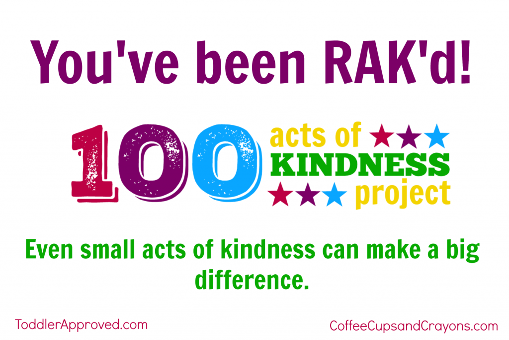 Free Printable RAK'd card for the 100 Acts of Kindness Project!