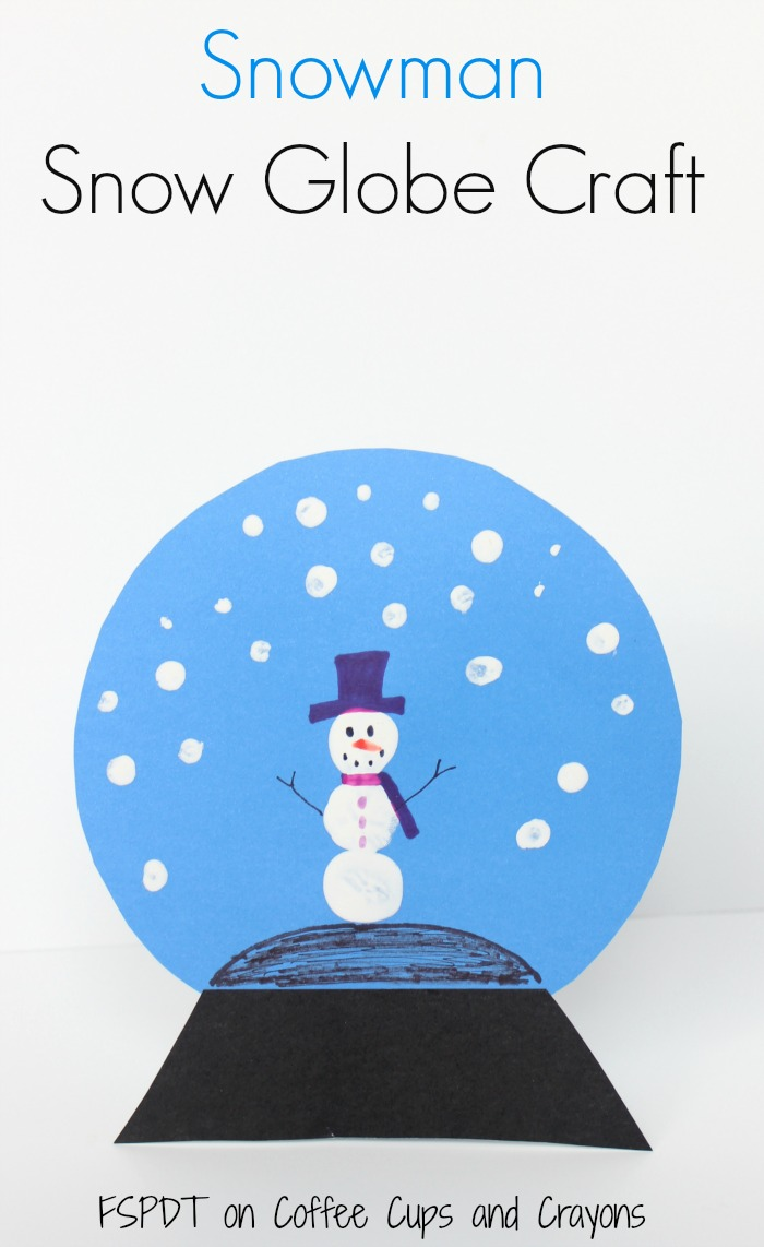 fingerprint snowman snow globe winter craft for kids