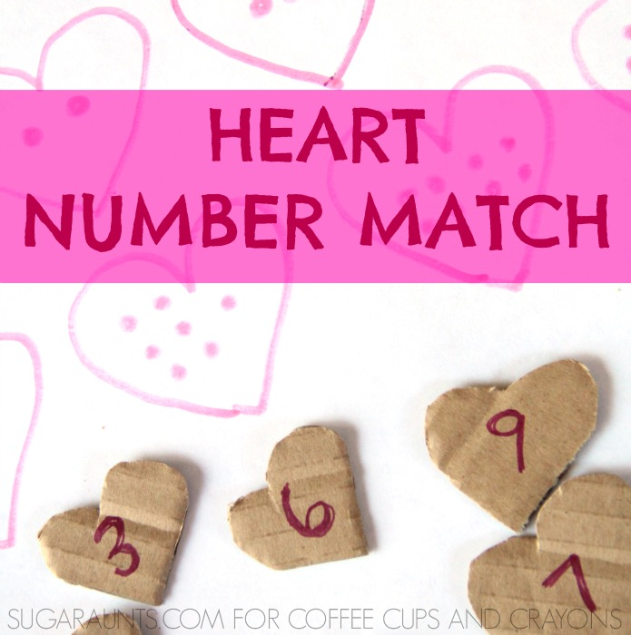 Play this heart-number matching activity game with the kids before Valentine's Day