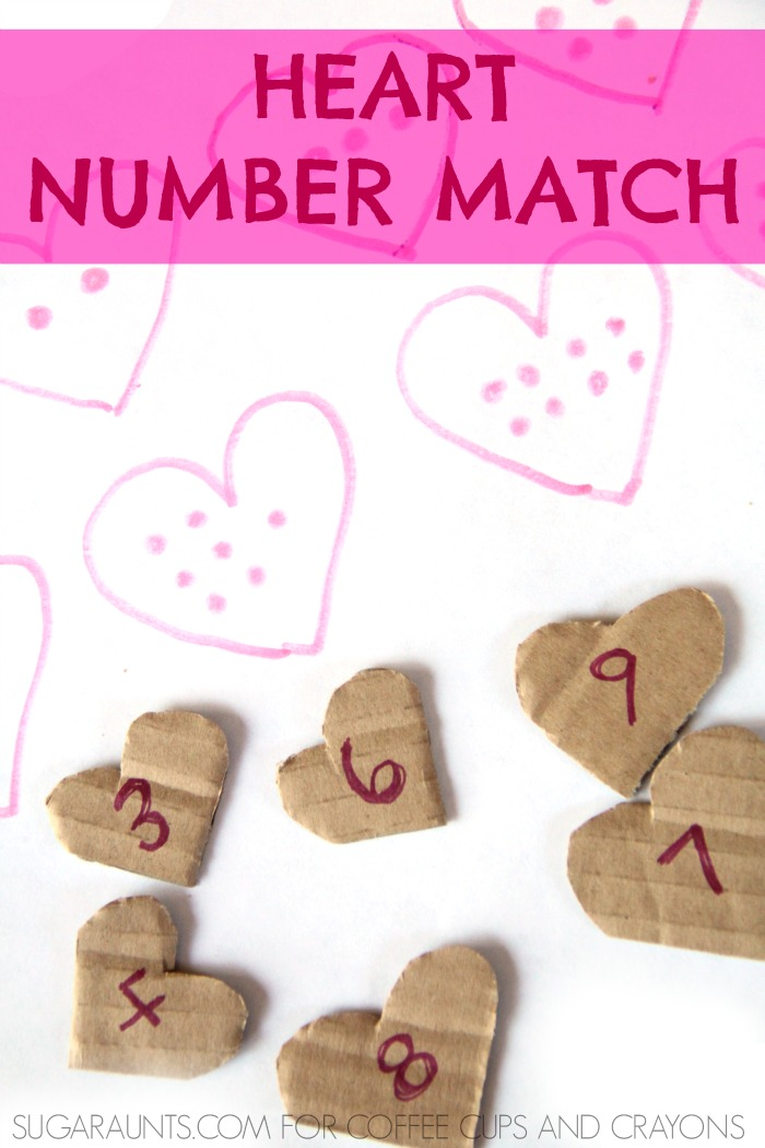 Kids will love playing this heart number matching activity! It's perfect for preschool on up through school-aged kids.