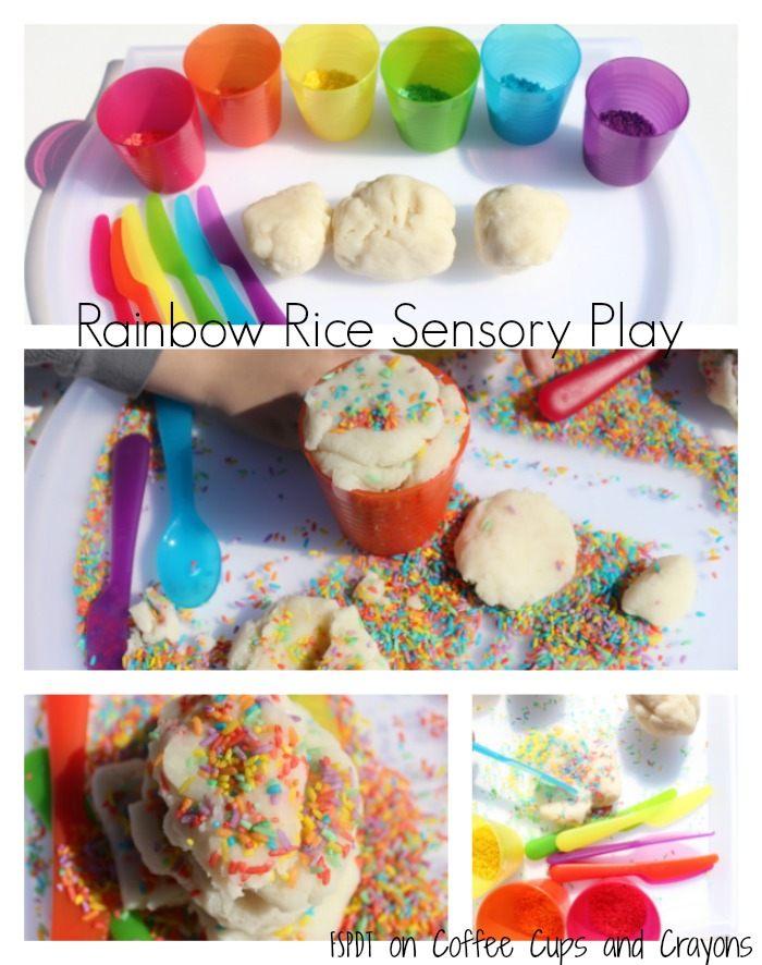 Rainbow Rice Playdough Sensory Activity for Kids