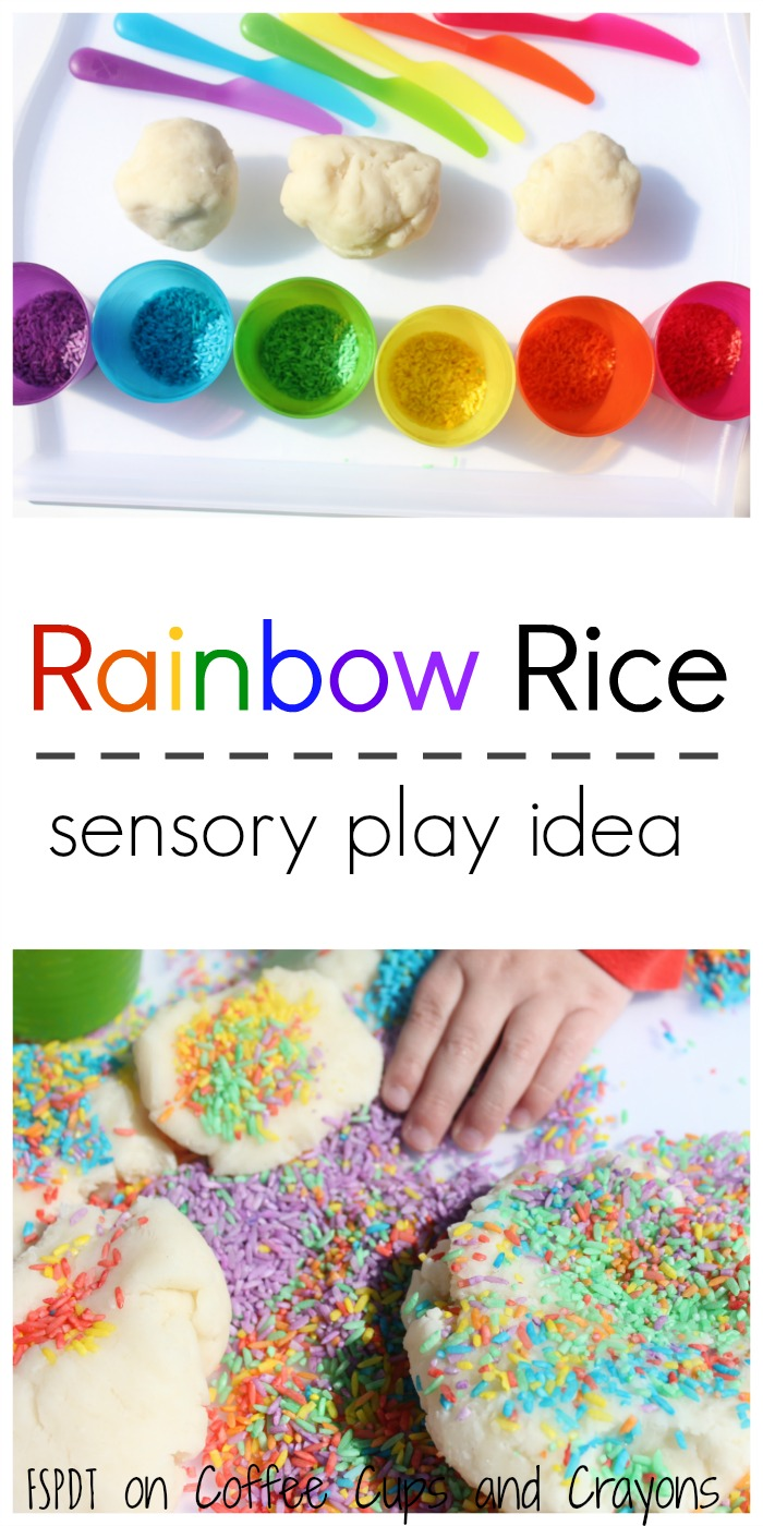 Rainbow rice sensory play activity