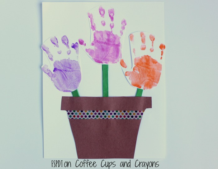 Handprint flower pot craft coffee cups and crayons simple mothers day handprint craft for toddler and preschool kids to make mightylinksfo