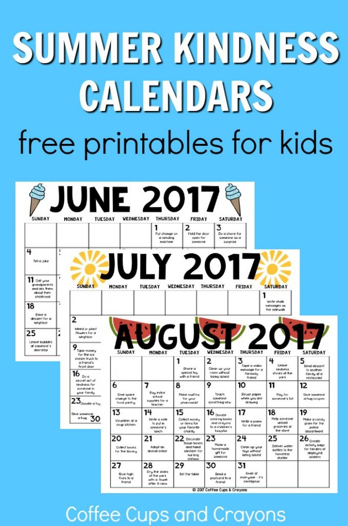 image relating to Printable Preschool Calendars called Summer months Kindness Calendars for Youngsters Espresso Cups and Crayons