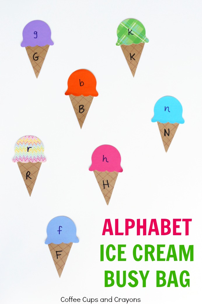 Ice cream cone themed ABC matching busy bag for kids!