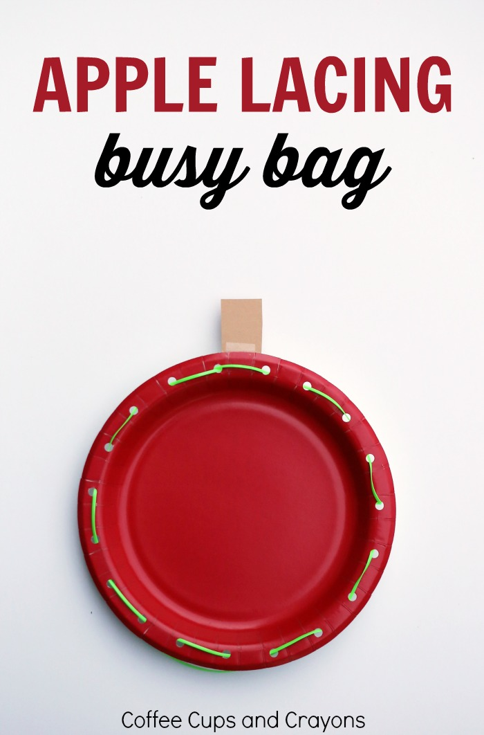 Simple Apple Lacing Busy Bag for Preschool! A fun way to work on fine motor skills!