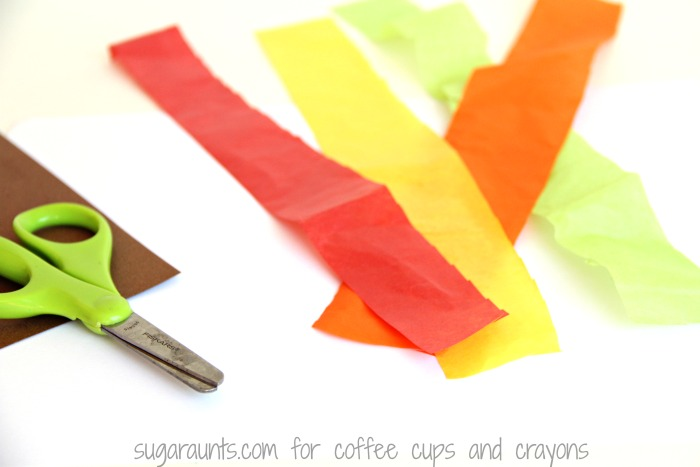 Make a Fall Tree Math craft with tissue paper while working on scissor skills.