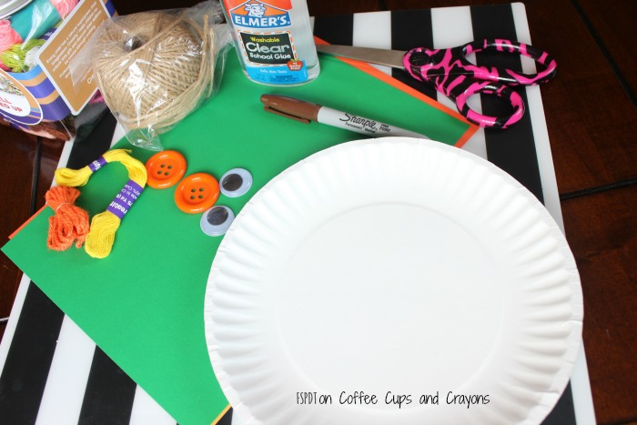 supplies for scarecrow paper plate craft
