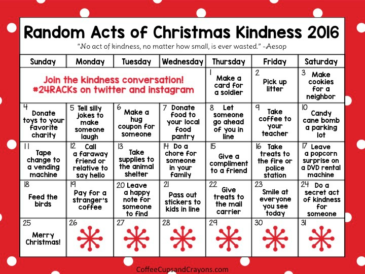 photo regarding Advent Calendar Printable called Random Functions of Xmas Kindness Arrival Calendar Espresso