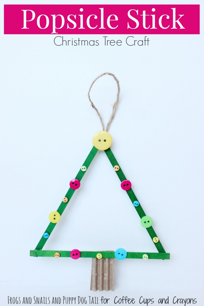 Coffee Christmas Tree Ornaments.Popsicle Stick Christmas Tree Craft Coffee Cups And Crayons