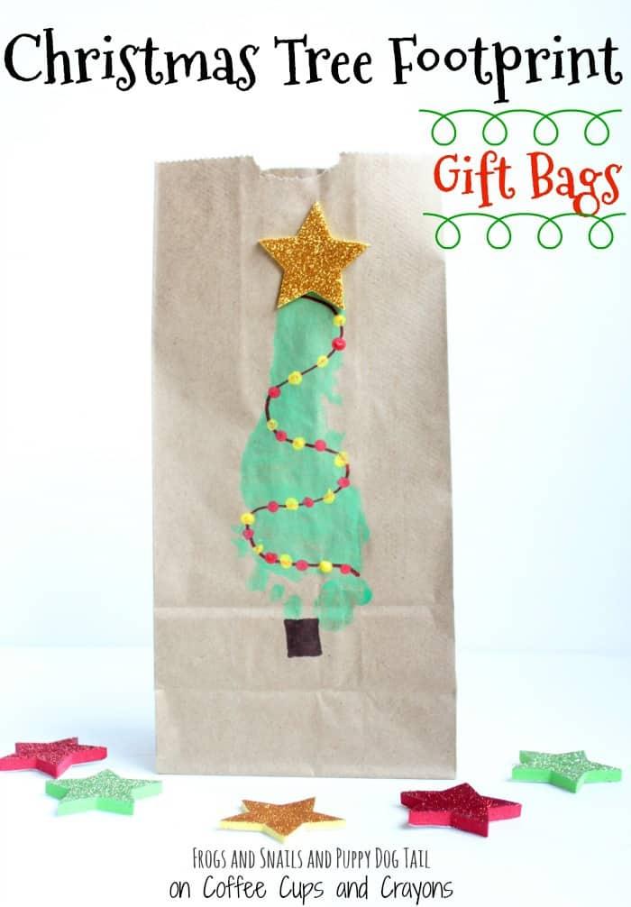Christmas Tree Footprint Gift Bag