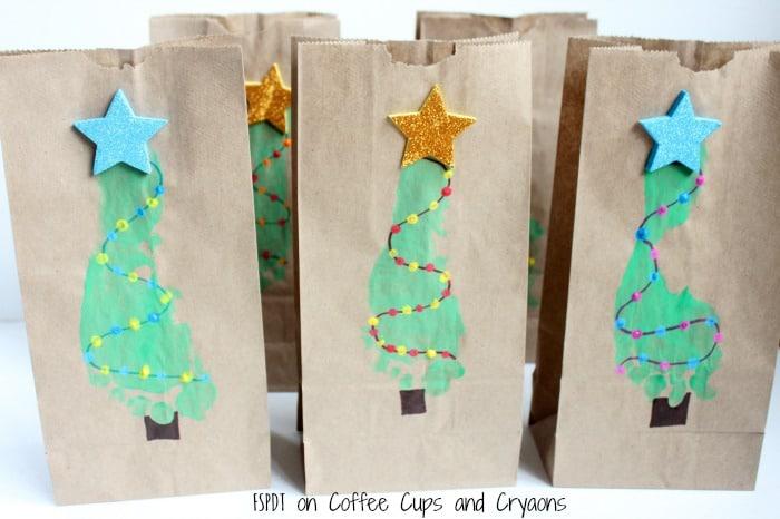 Christmas Gift Bags Diy.Diy Christmas Tree Footprint Gift Bags Coffee Cups And Crayons