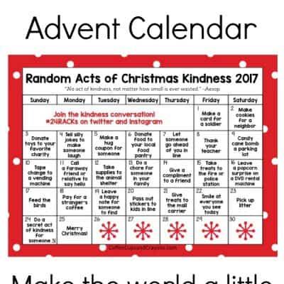 Free Printable Random Acts of Christmas Kindness Calendar for 2017! Do good this year!