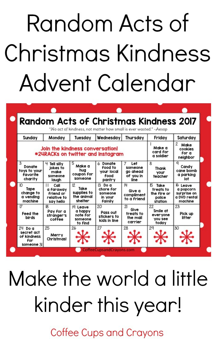 Random acts of christmas kindness advent calendar coffee cups and free printable random acts of christmas kindness calendar for 2017 do good this year solutioingenieria Image collections