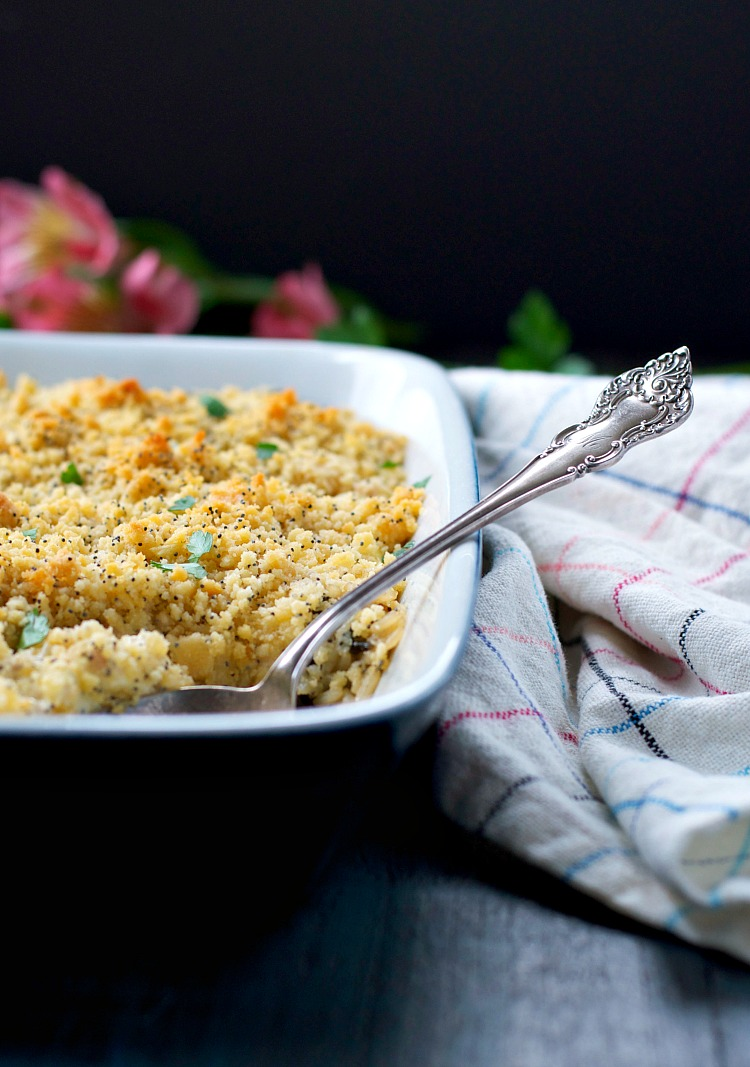 Aunt Barbara's Poppy Seed Chicken Casserole is an easy dinner and a perfect comfort food freezer meal for busy weeknights!