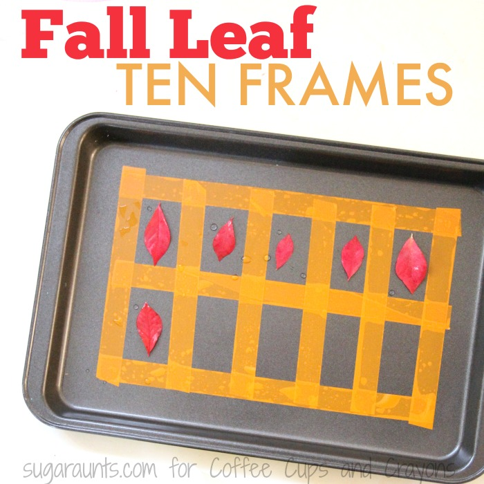 Practice adding and counting with this fall leaves ten frame.