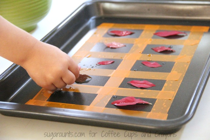 Use dice to work on addition and counting with this fall leaves ten frame activity.