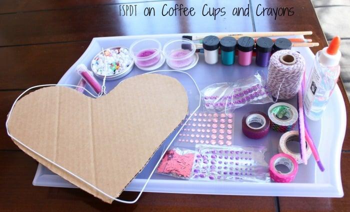 supplies for heart hanger art