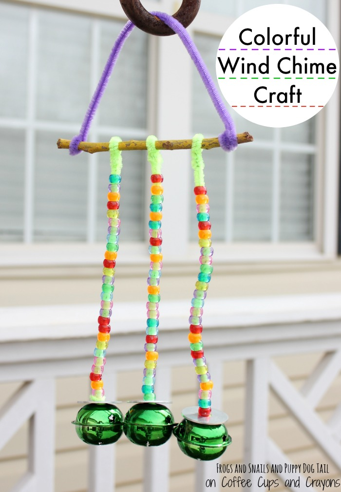 Colorful wind chime craft coffee cups and crayons for Wind chime craft projects