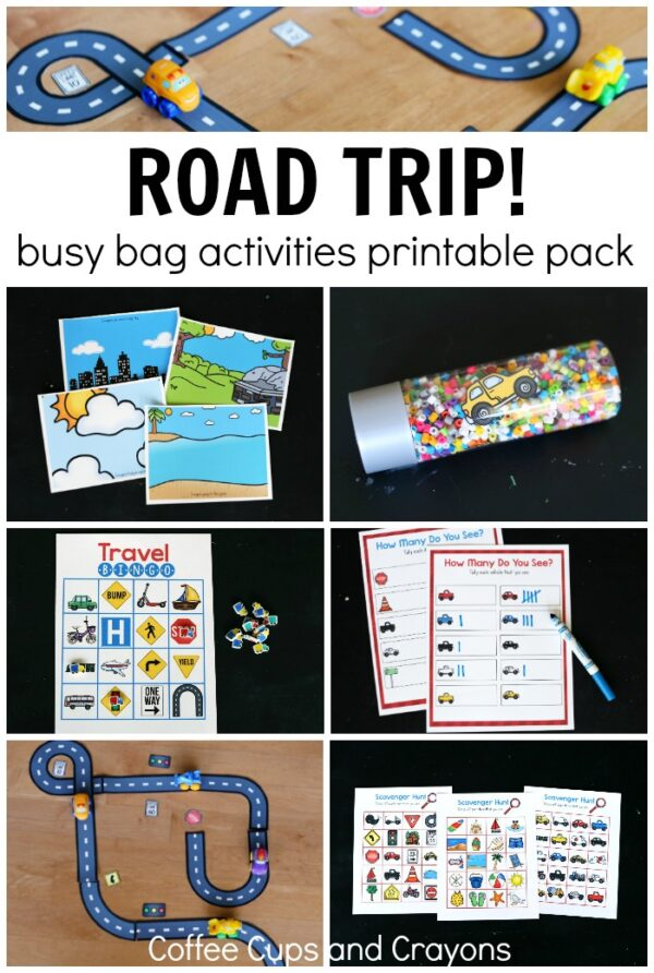 Road Trip Activities! A printable pack of busy bags and games that are perfect for traveling with kids!