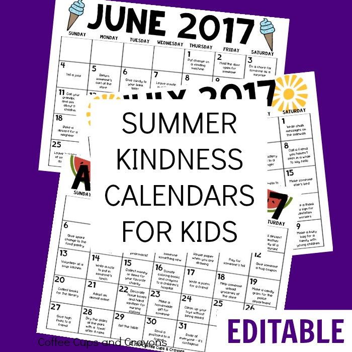 editable summer kindness calendars