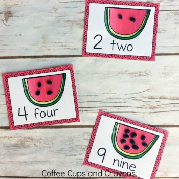 Free printable watermelon counting cards for a preschool busy bag!